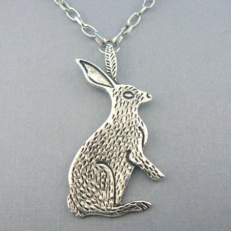 Jack Rabbit Bunny (Silver) Chain Necklace