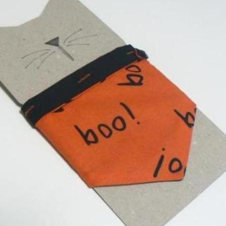 Halloween Kitty Cat Bandana Bandanna Boo Black Orange