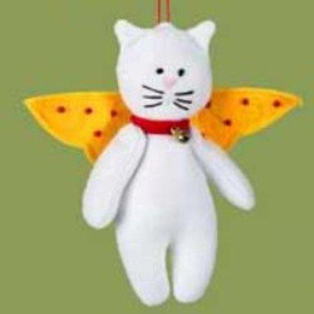 White Cat Felt Angel Christmas Tree Ornament