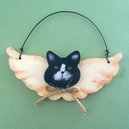 Cat Head Angel Wood Ornament - B/W
