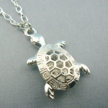 Hollow Turtle Silver Toned Pendant Necklace