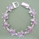 Turtles Magnetic Silver Tone Linked Bracelet