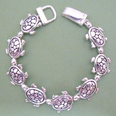 Turtles Magnetic Silver Tone Linked Bracelet