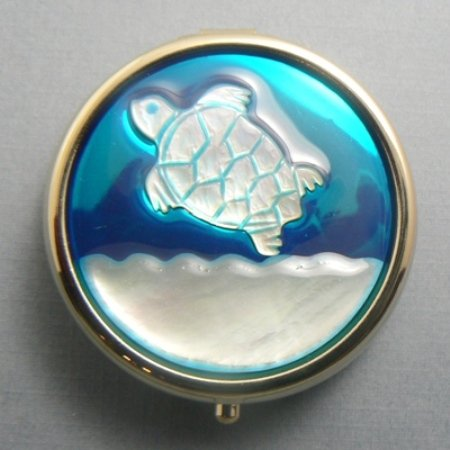 Turtle Mother of Pearl Pill Storage Box