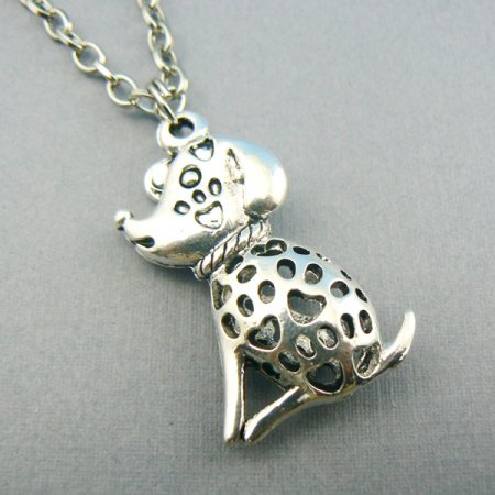 Puppy Love Silver Toned 3D Dog Necklace Charm Pendant