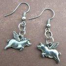Flying Pigs Pewter Silver Dangle Pig Earrings