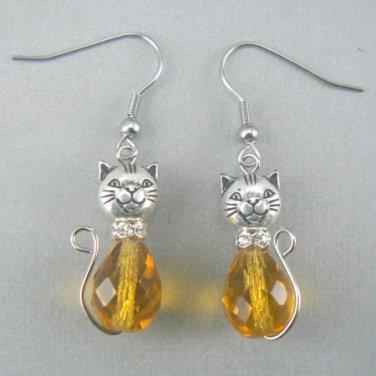 Cat Glass Tear Drop Dangle Earrings - Topaz
