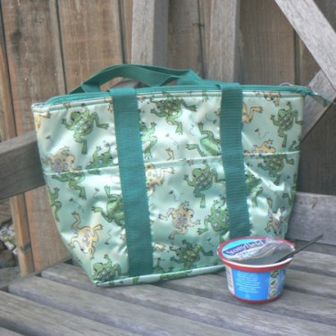 Insulated Lunch Tote Bag with Green Leaping Frogs