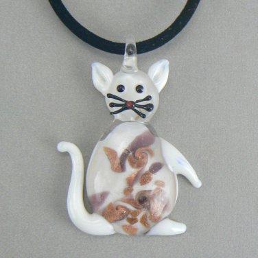 White Lampwork  Glass Cat Necklace Pendant Cord