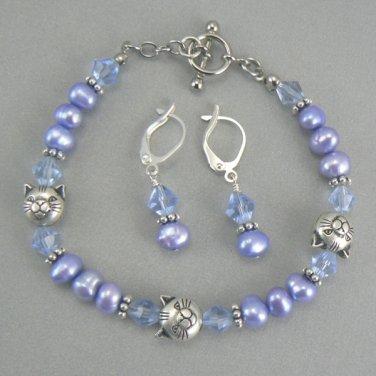 Kitty Cat Pearl Bracelet & Earring Set - Blue