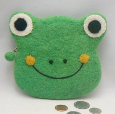 Green Frog Head Felted Coin Purse