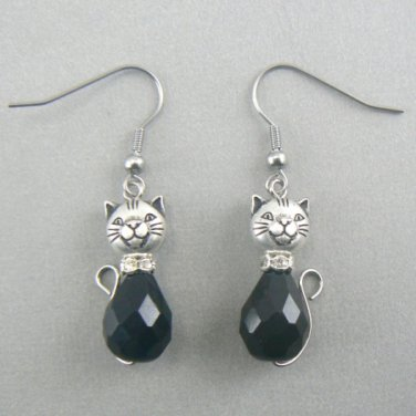Cat Glass Tear Drop Dangle Earrings - Black