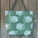 Large Nylon Green & White Sea Turtles Tote for Beach, Baby Diaper Bag or Shopping