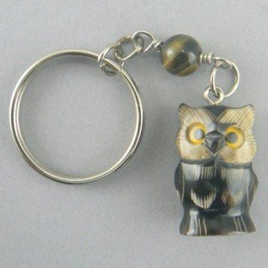 Hand Carved Buffalo Horn Owl Key Chain Ring Keychain