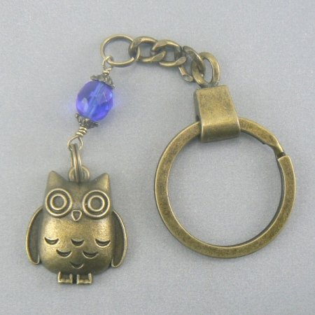 Lucky Owl Bronze Key Chain Ring Keychain Blue