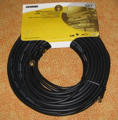 50 ft. Coaxial Cable RG6 F Connectors Video