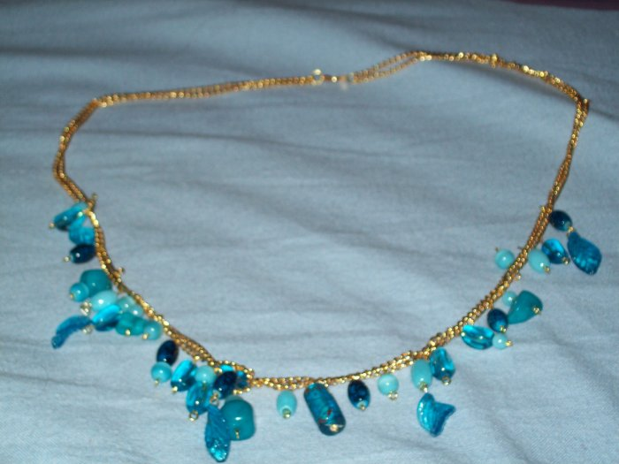 blue gold large necklace