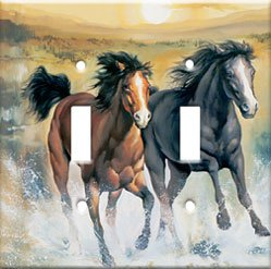 Horses In Surf Double Switchplate New Handcrafted USA