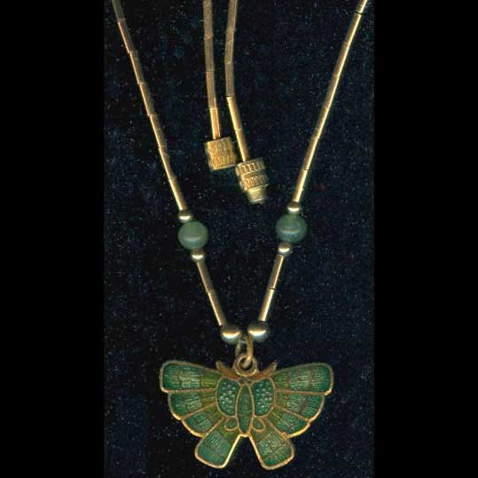 Liquid-link gold-tone pendant with green butterfly/owl/lion