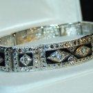 Unique Vintage style Silver & Black crystal Stretchy Bracelet