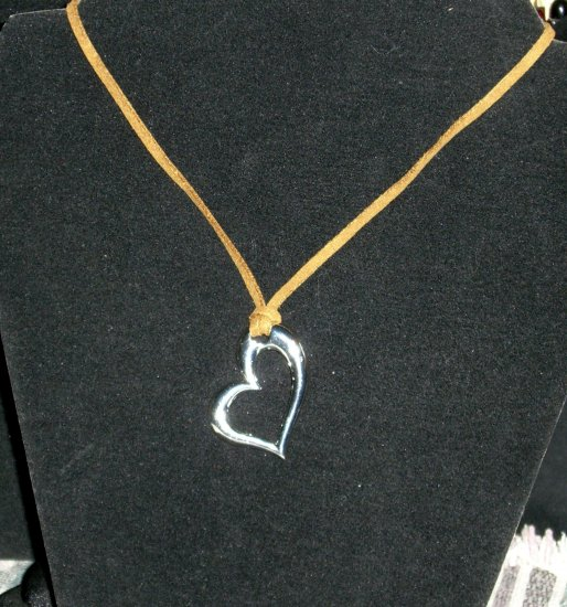 Silver Tone Heart with Tan Soft Suede Choker Necklace
