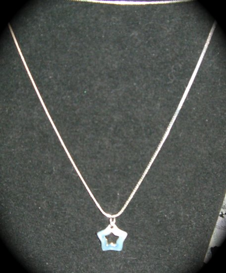 Silver & Light Blue Star Pendant & 30 in. vermeil serpentine Chain