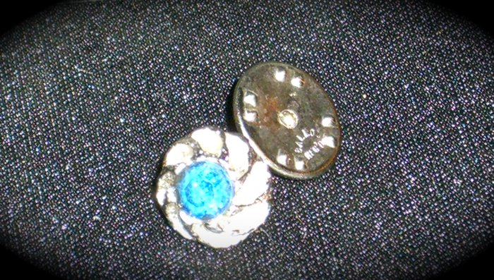 Vintage Swank Silver Tone Tie Pin with Blue Stone