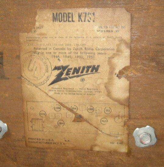Vintage 1940'S RADIO ZENITH K731 Tube Radio
