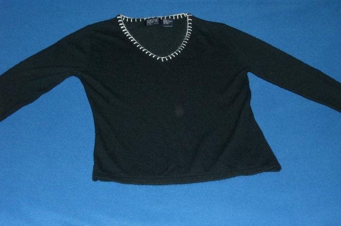 Blass Port By Bill Blass Womens Black V-Neck  Sweater