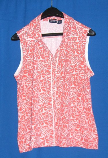 IZOD Coral Printed V-neck Sleeveless Top