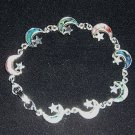 Girls Multicolored Shell Half Moon & Stars Bracelet Free Ship U.S. Mainland Only