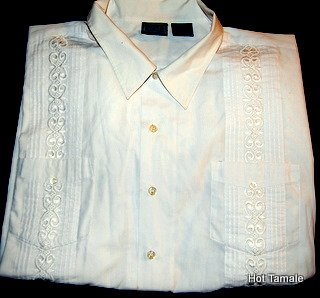 Mens TROPI - COOL WHITE Guayabera Button Up Short Sleeve Shirt
