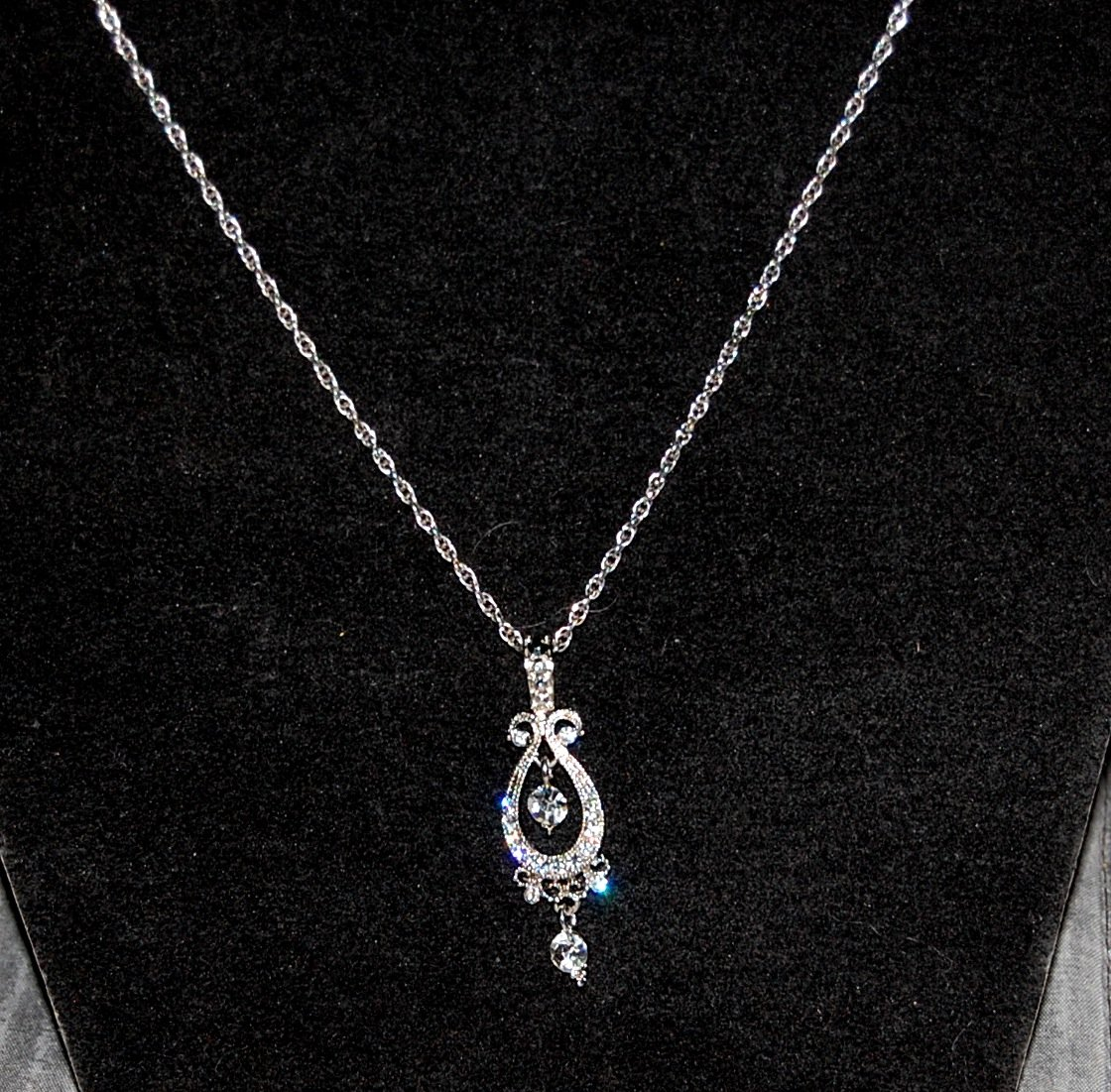 Silver Chain and Pendant with White Stones