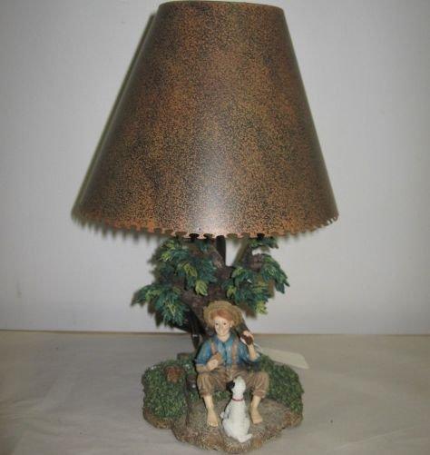 Little Boy & Dog Under Tree Lamp Base Metal Shade