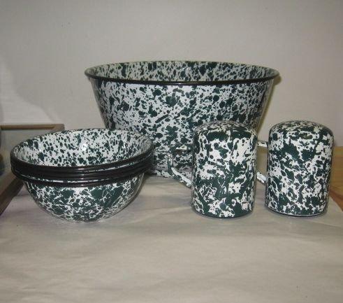 Green & White Enamelware Popcorn Bowls, S&P Shakers