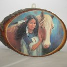 Indian Maiden w/Horse Print on Wood Slab