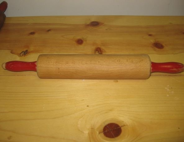 "Vintage Wooden 10"" Rolling Pin Red Handles"