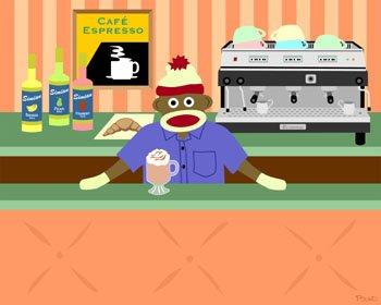 Sock Monkey Barista Coffee Shop Espresso Pop Art Print