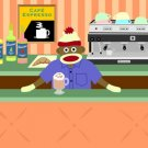 Sock Monkey Barista Coffee Shop Espresso Pop Art Print