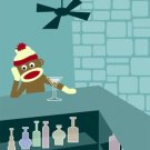 Sock Monkey Martini Glass Bar Original Pop Art Print