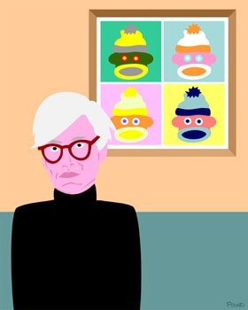 Sock Monkey with Andy Warhol Original Pop Art Print