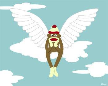 Sock Monkey Clouds Angel Wings Original Pop Art Print