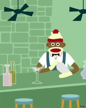 Sock Monkey Martini Shaker Bar Original Pop Art Print