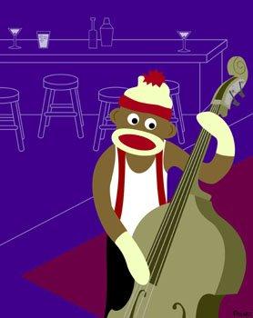 Sock Monkey Jazz Bass Player Original Pop Art Print