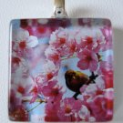 Bird Amongst Cherry Blossoms Glass Tile Pendant