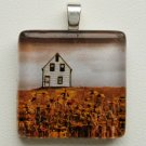 Home on the Range Glass Tile Pendant with Sterling Silver Bail
