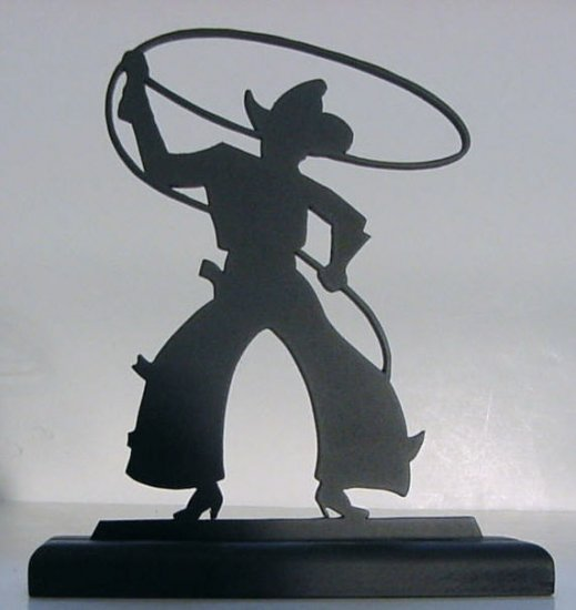 Bowlegged Cowboy with Lasso Decorative Wood Silhouette