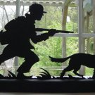 Hunter and His Trusty Dog Wood Decorative Silhouette