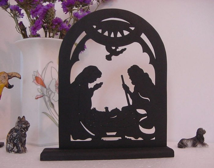 The Holy Family in the Manger on a Base Decorative Silhouette