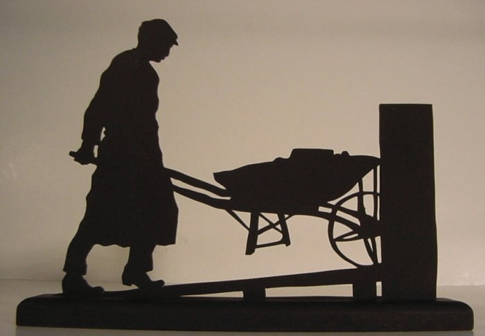 A Workman Brings Supplies to the Work Site Decorative Wood Silhouette